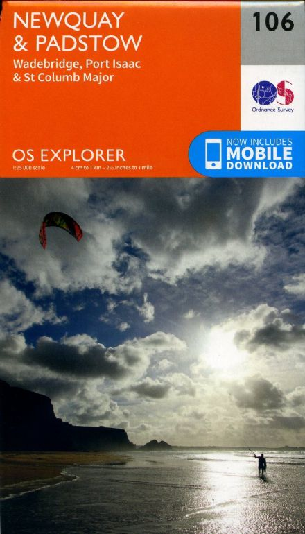 OS Explorer 106 Newquay & Padstow, Wadebridge, Port Isaac & St Columb Major